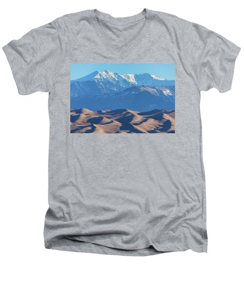 Snow Covered Rocky Mountain Peaks With Sand Dunes Men's V-Neck T-Shirt by James BO Insogna