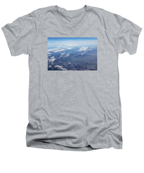 Snow Covered Rocky  Men's V-Neck T-Shirt