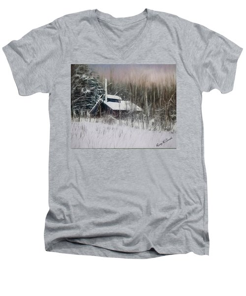Snow Covered Vermont Sugar Shack.  Men's V-Neck T-Shirt