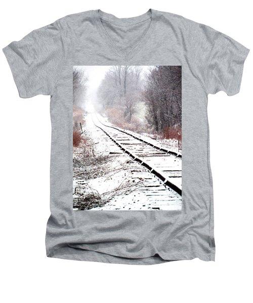 Snow Covered Wisconsin Railroad Tracks Men's V-Neck T-Shirt