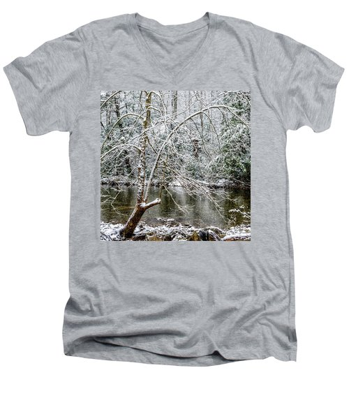 Men's V-Neck T-Shirt featuring the photograph Snow Cranberry River by Thomas R Fletcher