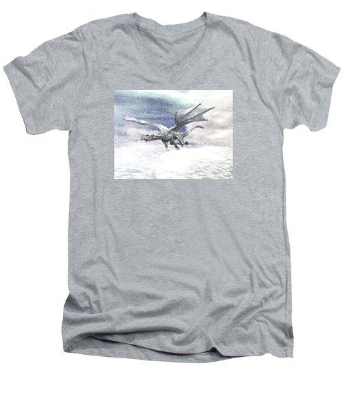 Snow Dragon Men's V-Neck T-Shirt by Michele Wilson