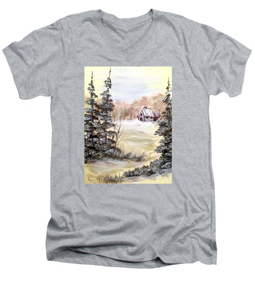 Men's V-Neck T-Shirt featuring the painting Snow Everywhere by Dorothy Maier