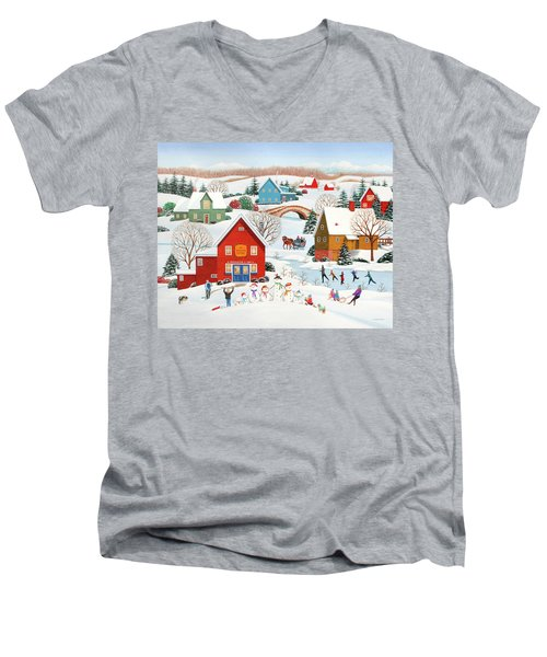 Snow Family  Men's V-Neck T-Shirt by Wilfrido Limvalencia