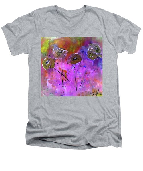 Snow Flowers Men's V-Neck T-Shirt by Lisa Kaiser