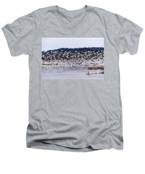 Snow Geese At Squaw Creek Men's V-Neck T-Shirt