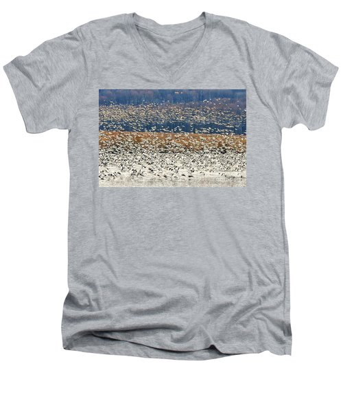 Men's V-Neck T-Shirt featuring the photograph Snow Geese At Willow Point by Lois Bryan