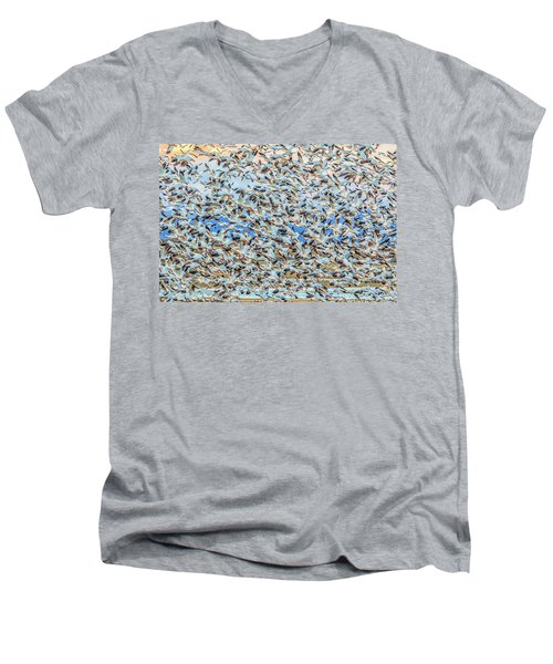 Snow Geese Fly Off Men's V-Neck T-Shirt