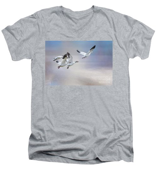 Men's V-Neck T-Shirt featuring the photograph Snow Geese In Flight by Bonnie Barry