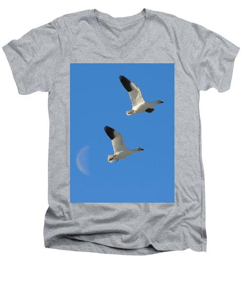 Snow Geese Moon Men's V-Neck T-Shirt