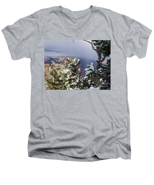 Men's V-Neck T-Shirt featuring the photograph Snow In The Canyon by Roberta Byram