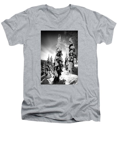Snow Laden Tree Men's V-Neck T-Shirt