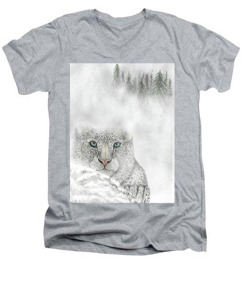 Men's V-Neck T-Shirt featuring the digital art Snow Leopard by Darren Cannell