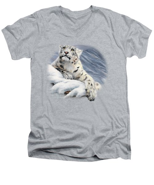 Snow Leopard Men's V-Neck T-Shirt by Lucie Bilodeau