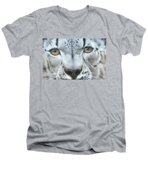 Men's V-Neck T-Shirt featuring the painting Snow Leopard by Mike Brown