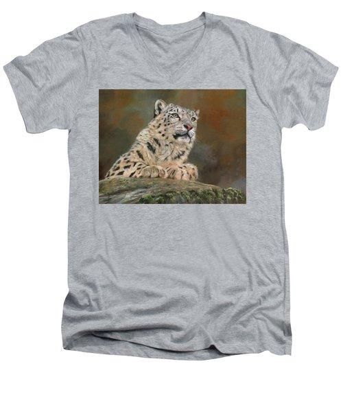 Snow Leopard On Rock Men's V-Neck T-Shirt by David Stribbling