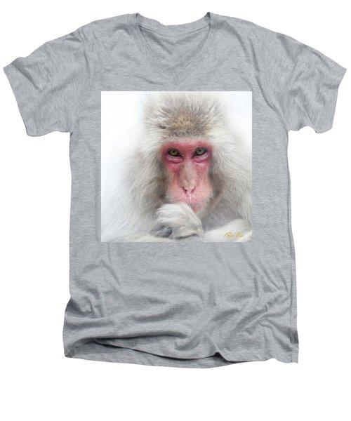 Men's V-Neck T-Shirt featuring the photograph Snow Monkey Consideration by Rikk Flohr