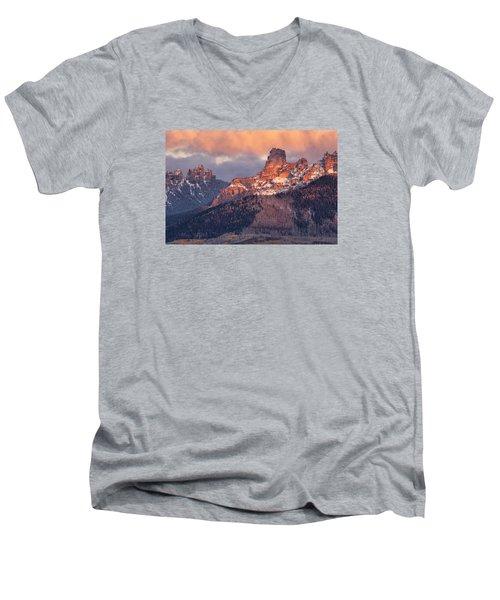Snow On Chimney Rock Men's V-Neck T-Shirt