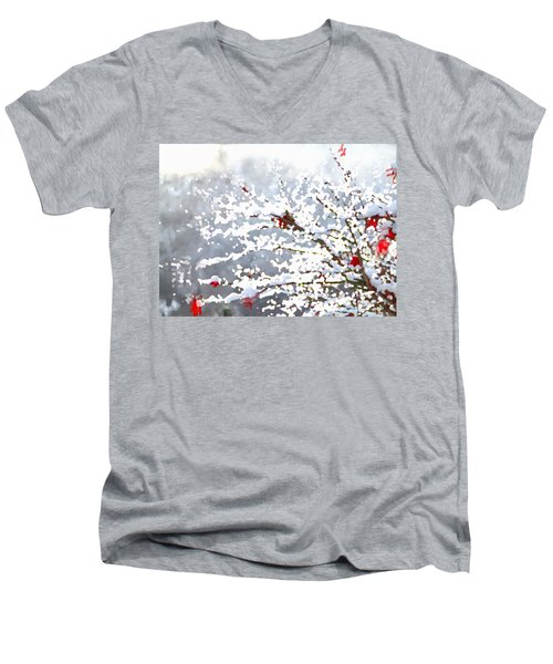 Men's V-Neck T-Shirt featuring the digital art Snow On The Maple by Shelli Fitzpatrick