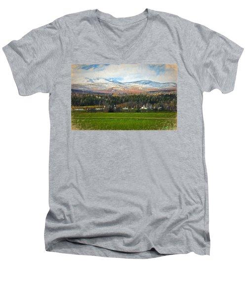 Snow On The Mountains Men's V-Neck T-Shirt by John Selmer Sr
