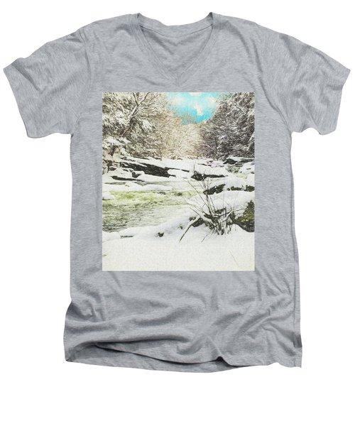 Snow On The Natchaug Men's V-Neck T-Shirt