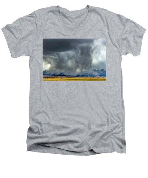 Snow On The Rockies Men's V-Neck T-Shirt