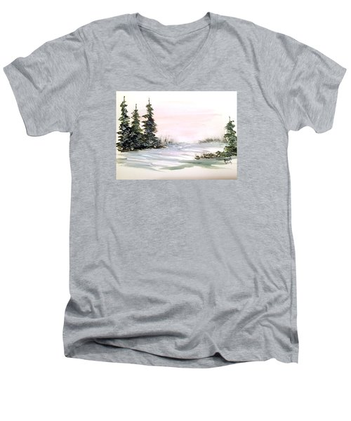 Men's V-Neck T-Shirt featuring the painting Snow Over The Pasture by Dorothy Maier