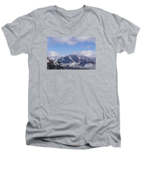 Men's V-Neck T-Shirt featuring the photograph Snow Rim by Laura Pratt