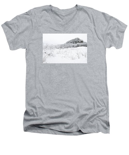 Men's V-Neck T-Shirt featuring the photograph Snow Scene by Larry Ricker