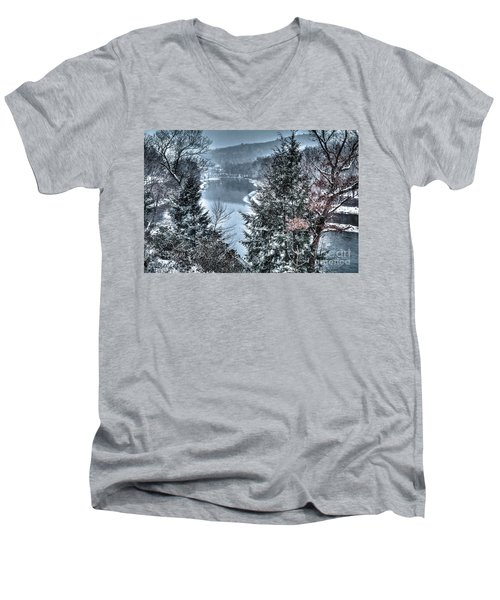 Men's V-Neck T-Shirt featuring the photograph Snow Squall by Tom Cameron