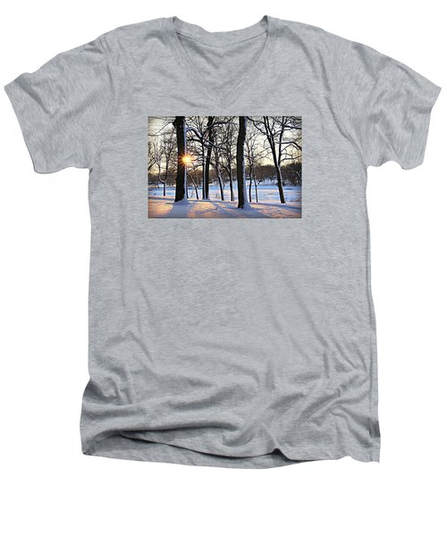 Snow Starred Grove Men's V-Neck T-Shirt by Kathy M Krause
