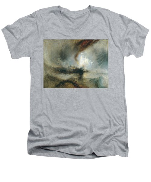 Men's V-Neck T-Shirt featuring the painting Snow Storm by Joseph Mallord William Turner