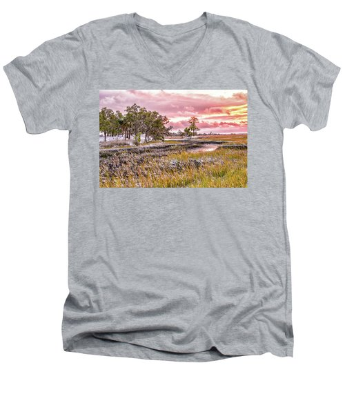 Snow Sunset -marsh View Men's V-Neck T-Shirt