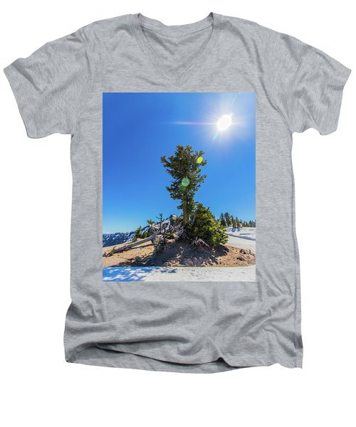Men's V-Neck T-Shirt featuring the photograph Snow Tree by Jonny D