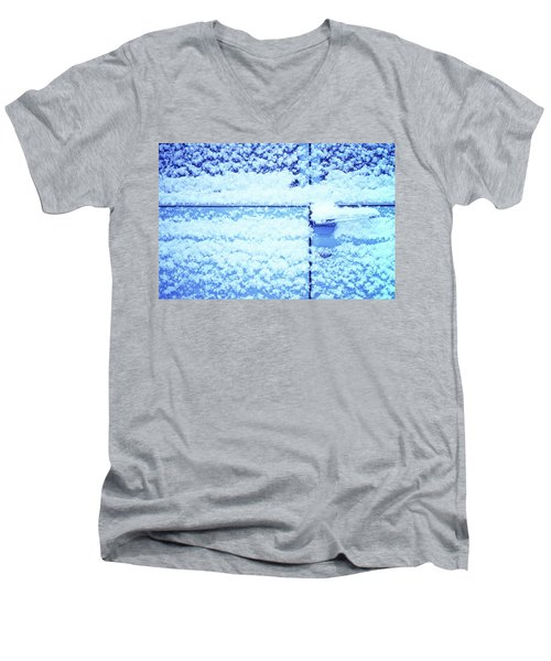 Men's V-Neck T-Shirt featuring the photograph Snow Van 51 Chevy Panel by Laurie Stewart