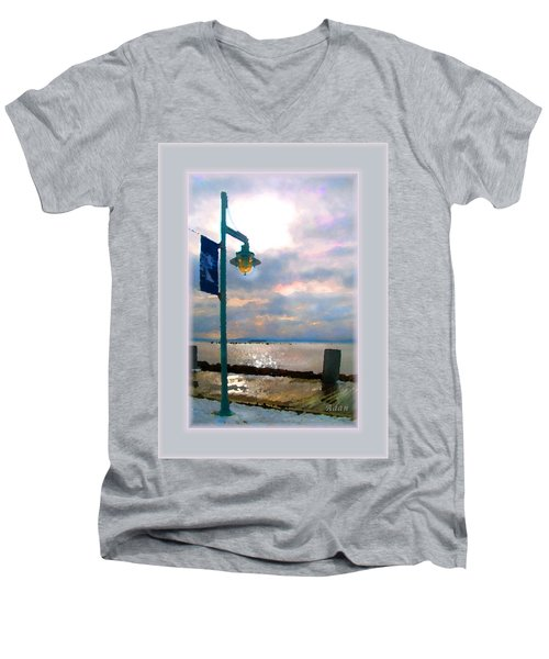 Snow Waterfront Park Walk Men's V-Neck T-Shirt by Felipe Adan Lerma
