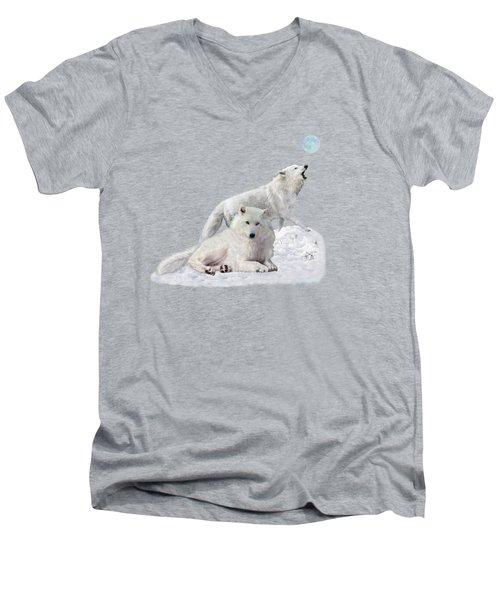Snow Wolves Of The Wild Men's V-Neck T-Shirt
