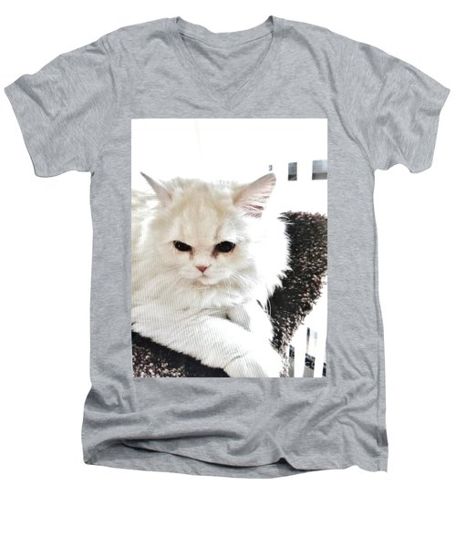 Men's V-Neck T-Shirt featuring the photograph Snowball Is 92 Year Old Widows Cat by Marsha Heiken
