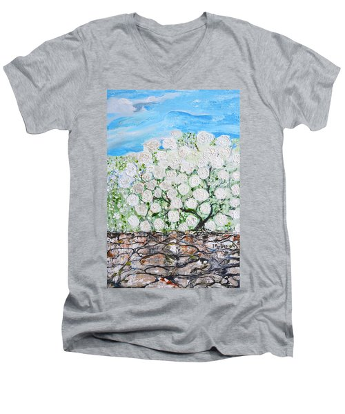 Men's V-Neck T-Shirt featuring the painting Snowballs Flowers by Evelina Popilian