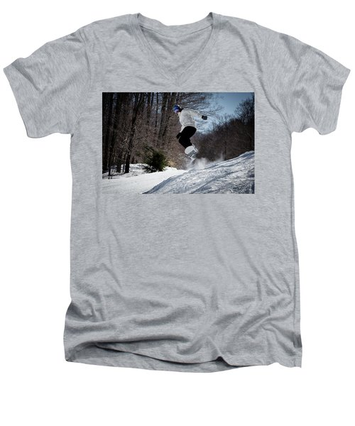 Men's V-Neck T-Shirt featuring the photograph Snowboarding Mccauley Mountain by David Patterson