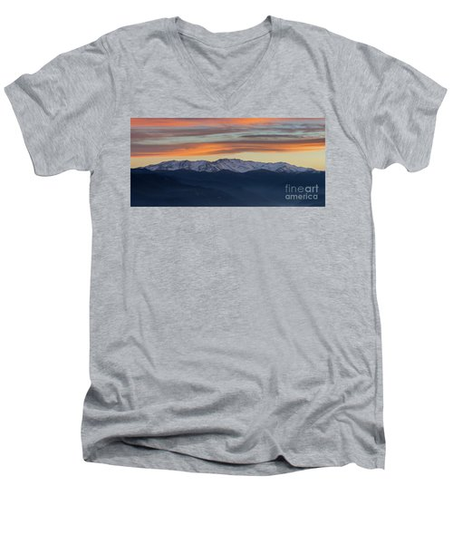 Snowcapped Miapor Range Under Golden Clouds, Armenia Men's V-Neck T-Shirt