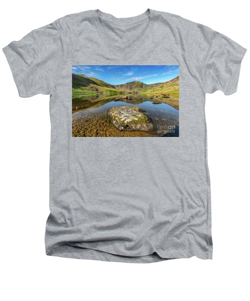 Men's V-Neck T-Shirt featuring the photograph Snowdonia Mountain Reflections by Adrian Evans