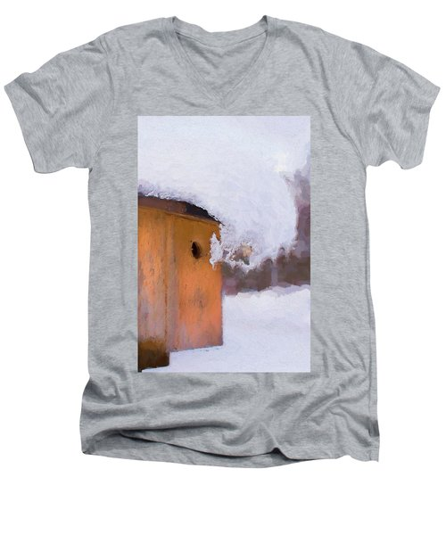 Men's V-Neck T-Shirt featuring the photograph Snowdrift On The Bluebird House by Gary Slawsky