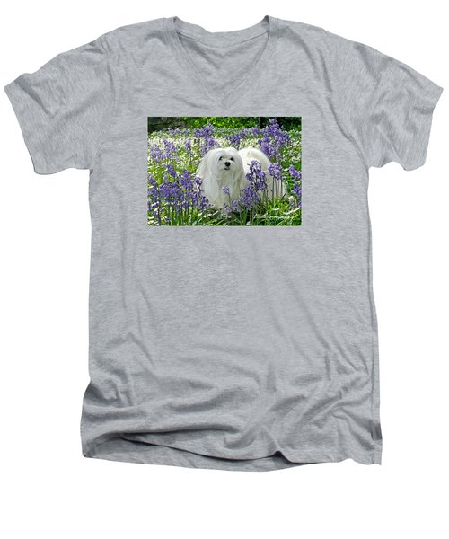 Snowdrop In The Bluebell Woods Men's V-Neck T-Shirt by Morag Bates