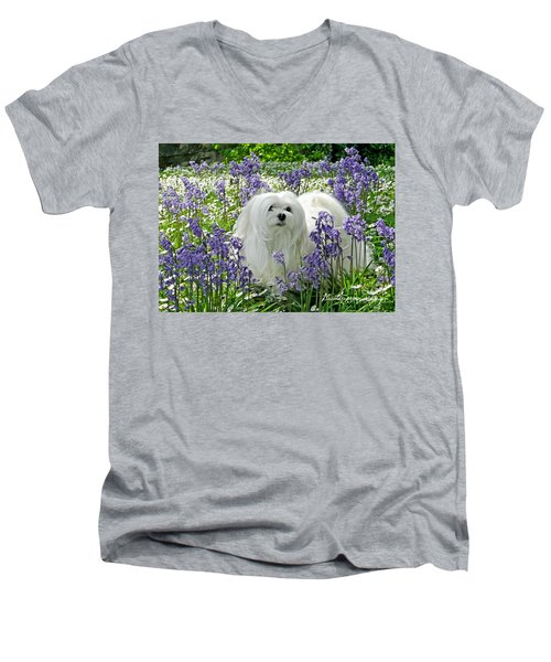 Snowdrop In The Bluebell Woods Men's V-Neck T-Shirt