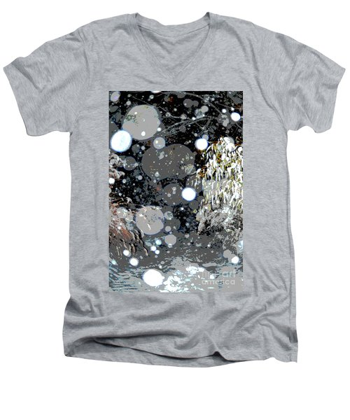 Snowfall Deconstructed Men's V-Neck T-Shirt by Li Newton