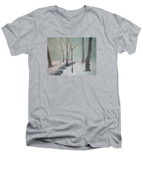 Snowfall In The Park Men's V-Neck T-Shirt