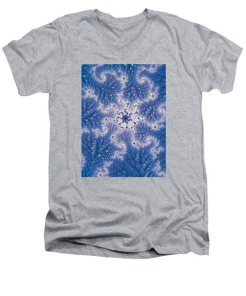 Men's V-Neck T-Shirt featuring the photograph Snowflake Embroidered by Ronda Broatch