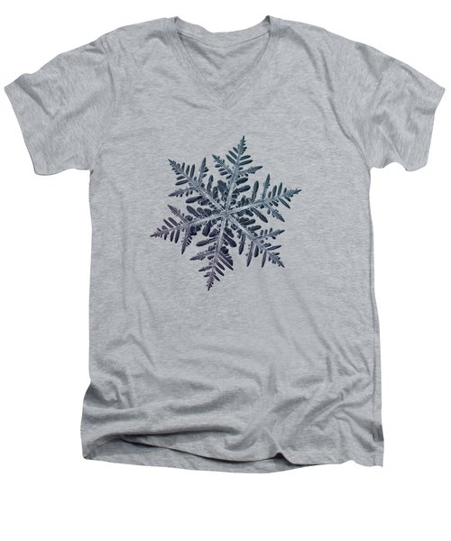 Men's V-Neck T-Shirt featuring the photograph Snowflake Photo - Neon by Alexey Kljatov