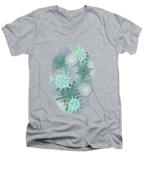 Snowflakes Men's V-Neck T-Shirt by AugenWerk Susann Serfezi